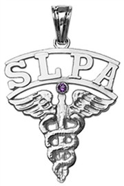 Speech language pathologist assistant SLPA charm graduation pinning gifts. Speech Therapist SLPA jewelry in 14K and silver for class discounts