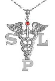 SLP necklace speech language pathologist pinning ceremony graduation jewelry and gifts. Speech Therapist class discounts, gift boxes and fast ship