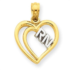 RN Heart Charm in 14K Gold a Great Nurse Graduation Gift
