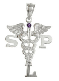 SLP Speech Language Pathologist Graduation Pins, Charm and Necklace