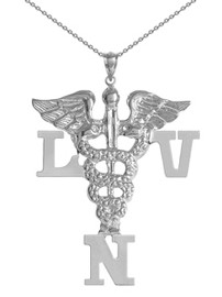 LVN necklace Licensed vocational nurse pinning ceremony graduation gifts and jewelry.  LVN nurse necklace made in silver or 14K and shipped fast.