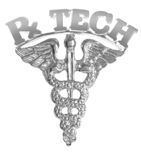 RxTECH pins pharmacy technician graduation pinning ceremony awards and recognition gifts. RxTECH graduation pins available in 14K gold or silver