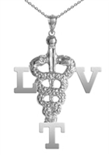 LVT necklace for registered veterinary technician pinning graduation jewelry. Licensed Vet Tech LVT gifts in silver and 14K gold for class discounts