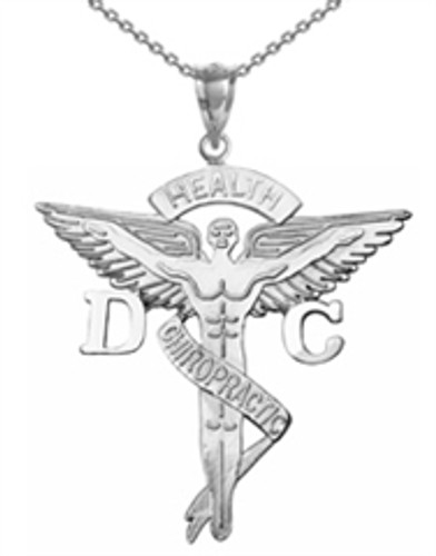 Doctor of chiropractic medicine DC necklace graduation pinning ceremony gifts.  Chiropractor DC jewelry in 14K and silver for class discounts.