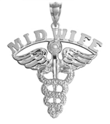 Midwife charm and pendant for graduation pinning ceremony gift.  Midwife jewelry in 14K and silver for class discounts and quick shipping.