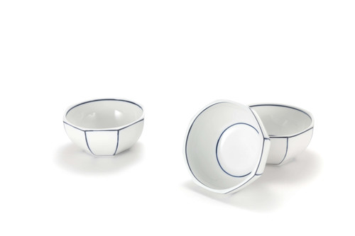 Diningware Handmade Ceramics Octagon shaped bowl with blue lines by The Moon Jar and Artist Kim Seok Binn