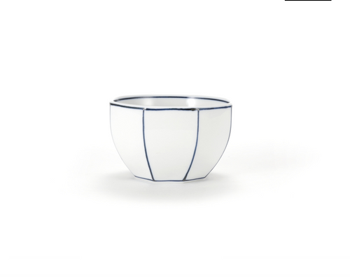Diningware Handmade Ceramics Octagon shaped bowl with blue lines by The Moon Jar and Artist Kim Seok Binn