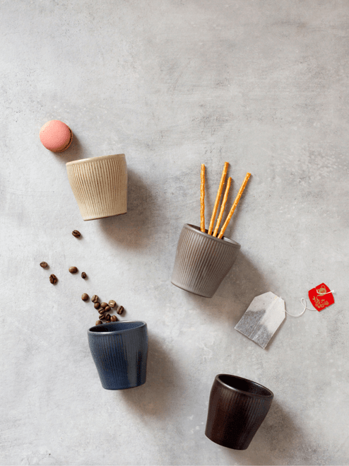 Handmade Korean Ceramic Cups in Oatmeal, Taupe, Navy and Black colours.