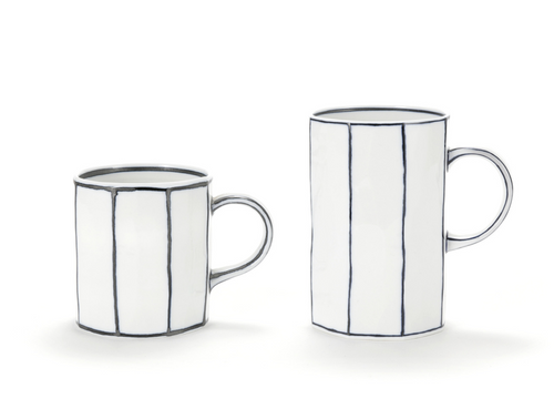 Handmade Angular White Ceramic Cup with Blue lines