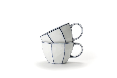 Handmade Ceramic White Coffee Cup with Blue lines