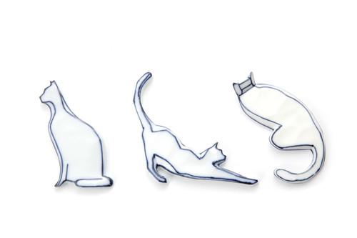 Handmade Cat-shaped Chopstick Holder with Blue Lines -