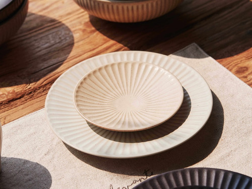 Handmade Ceramics Onseo Plate in Oatmeal and Taupe Colour in 13cm and 19cm sizes