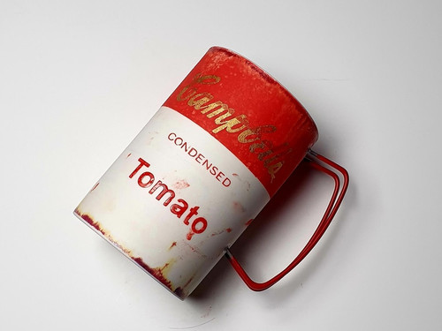 Retro Campbell Soup Mug in Red, Handmade by Artist Hyun Sang Hwa