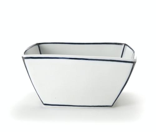 Handmade Ceramics White Salad Bowl with Blue Lines by The Moon Jar and Ceramist Kim Seok Binn