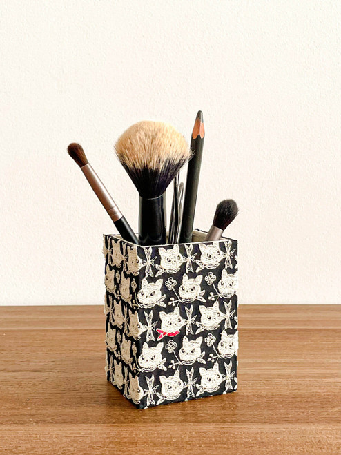 hacocco cartonnage pencil holder and organizer with embroidery fabrics. Multi functional desk organizer
