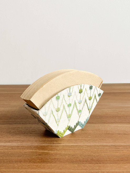 hacocco collection. Cartonnage coffee filter case with Japanese premium embroidered fabrics by artist Takako tanaka.