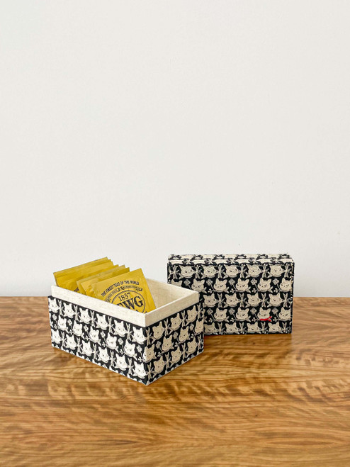 hacocco collection. Cartonnage tea bag holder with Japanese premium embroidered fabrics by artist Takako tanaka.