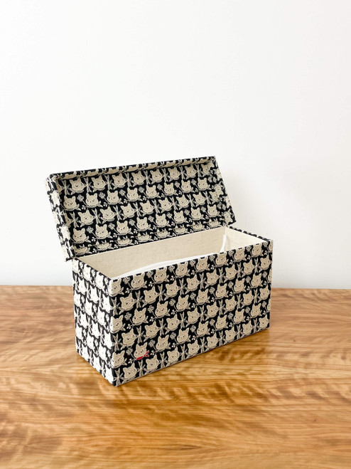 hacocco collection. Cartonnage mask storage box with Japanese premium embroidered fabrics by artist Takako tanaka.