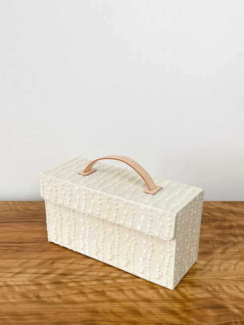 hacocco collection. Cartonnage mask storage box with Japanese premium embroidered fabrics by artist Takako tanaka. Magnet