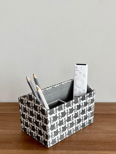 hacocco collection. Cartonnage desk organizer with Japanese premium embroidered fabrics by artist Takako tanaka.