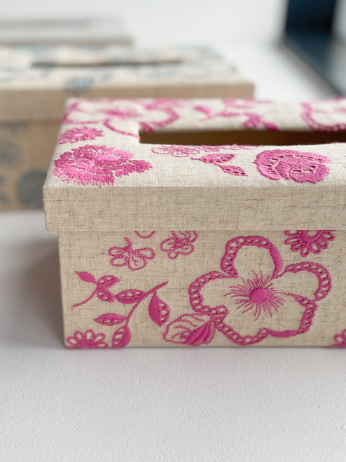 hacocco collection. Cartonnage tissue box with Japanese premium embroidered fabrics by artist