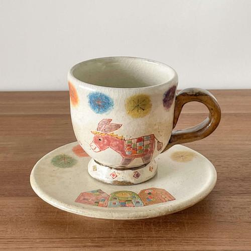YAGO Ceramics by Japanese Ceramist Naohiko Yago.  Coffee mug and saucer set - Donkey 2021. All handmade and hand painted. The Moon Jar Singapore