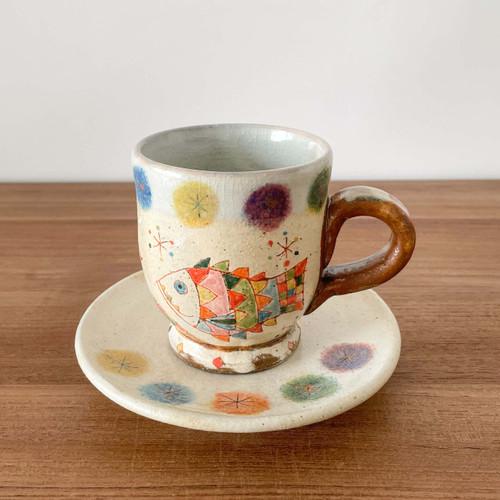 YAGO Ceramics by Japanese Ceramist Naohiko Yago.  Coffee mug and saucer set - Fish 2021. All handmade and hand painted. The Moon Jar Singapore