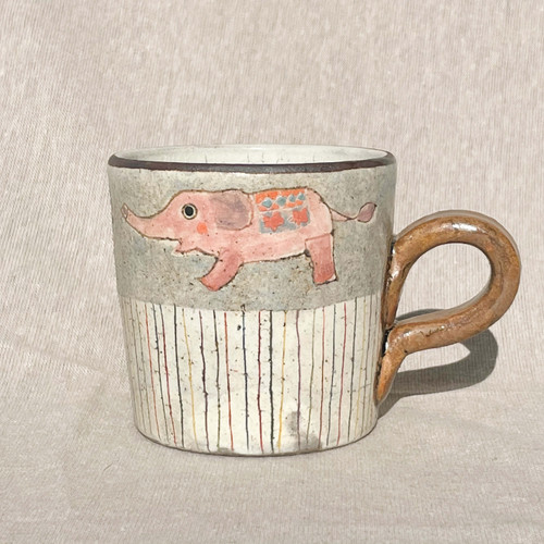 YAGO Mug Elephant by Japanese Ceramist Naohiko Yago.  All handmade and hand painted. The Moon Jar Singapore