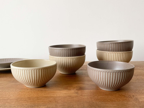 Handmade Ceramics Onseo bowl in Oatmeal and Taupe Colour in 3 sizes