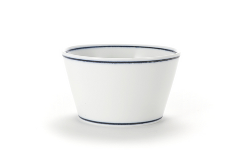 Diningware Handmade Ceramics V shaped bowl with blue lines by The Moon Jar and Artist Kim Seok Binn