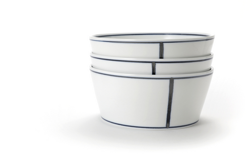 Handmade Ceramics White V Noodle Bowl with Blue Lines by The Moon Jar and Ceramist Kim Seok Binn