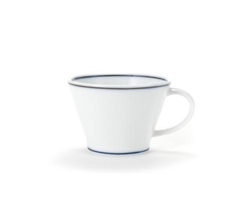 Handmade Ceramic White V Coffee Mug with Blue lines