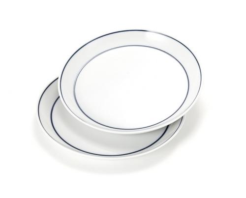 Handmade Ceramics White Plate with Blue lines