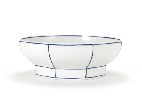 Handmade Ceramics WhiteOctagon Noodle Bowl with Blue Lines by The Moon Jar and Ceramist Kim Seok Binn