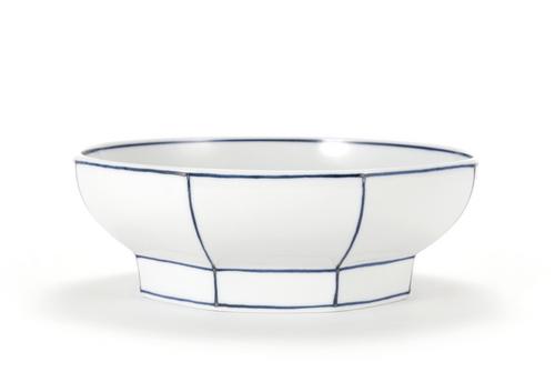 Handmade Ceramics WhiteOctagon Noodle Bowl with Blue Lines by The Moon Jar and Ceramist Kim Seok Binn