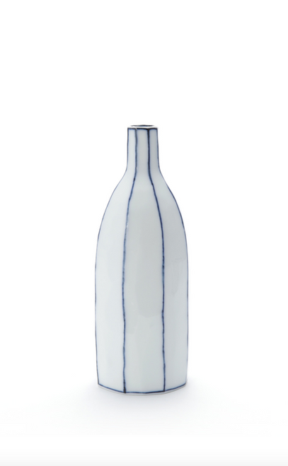 Handmade Ceramics SoJu Bottlel with Blue Lines by The Moon Jar and Ceramist Kim Seok Binn