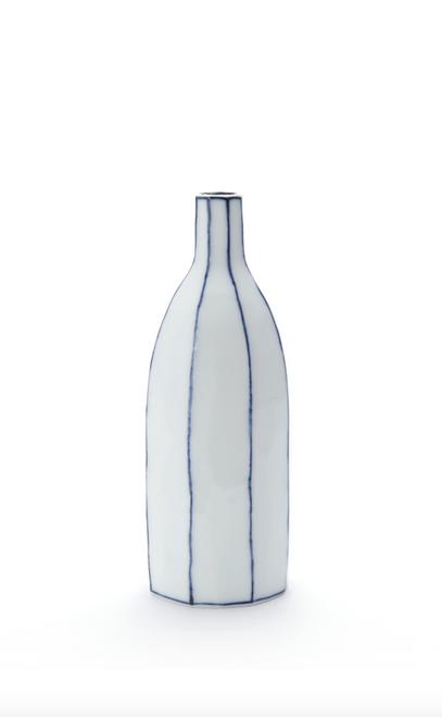 Handmade Ceramics SoJu Bottlel with Blue Lines by The Moon Jar and Ceramist Kim Seok Binn
