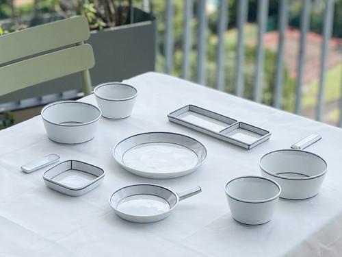 Handmade unique Blueline Korean Table Set for Two [집밥 2인 세트]  by Artist  Kim Seok Binn.