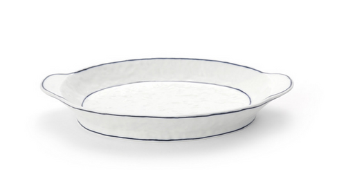 Handmade Ceramics White Oval deep Plate with Blue lines