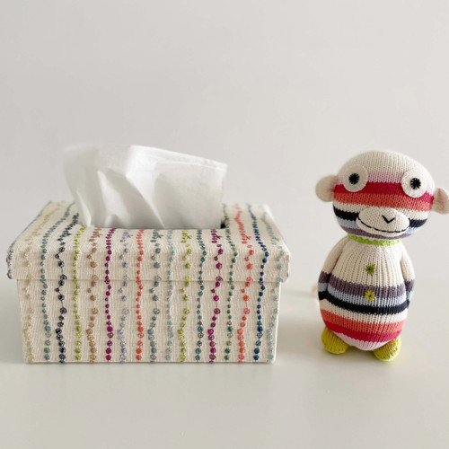hacocco collection. Cartonnage tissue box with Japanese premium embroidered fabrics by artist Takako Tanaka. Rectangular shape.