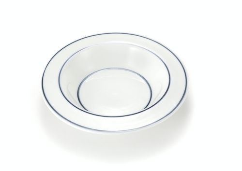 Handmade Ceramics White Salad Dish  with Blue Lines by The Moon Jar