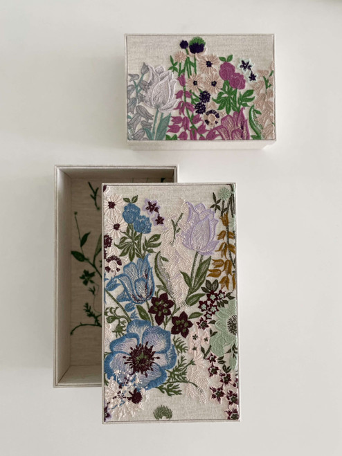 hacocco collection. Cartonnage Treasure box with Japanese premium embroidered