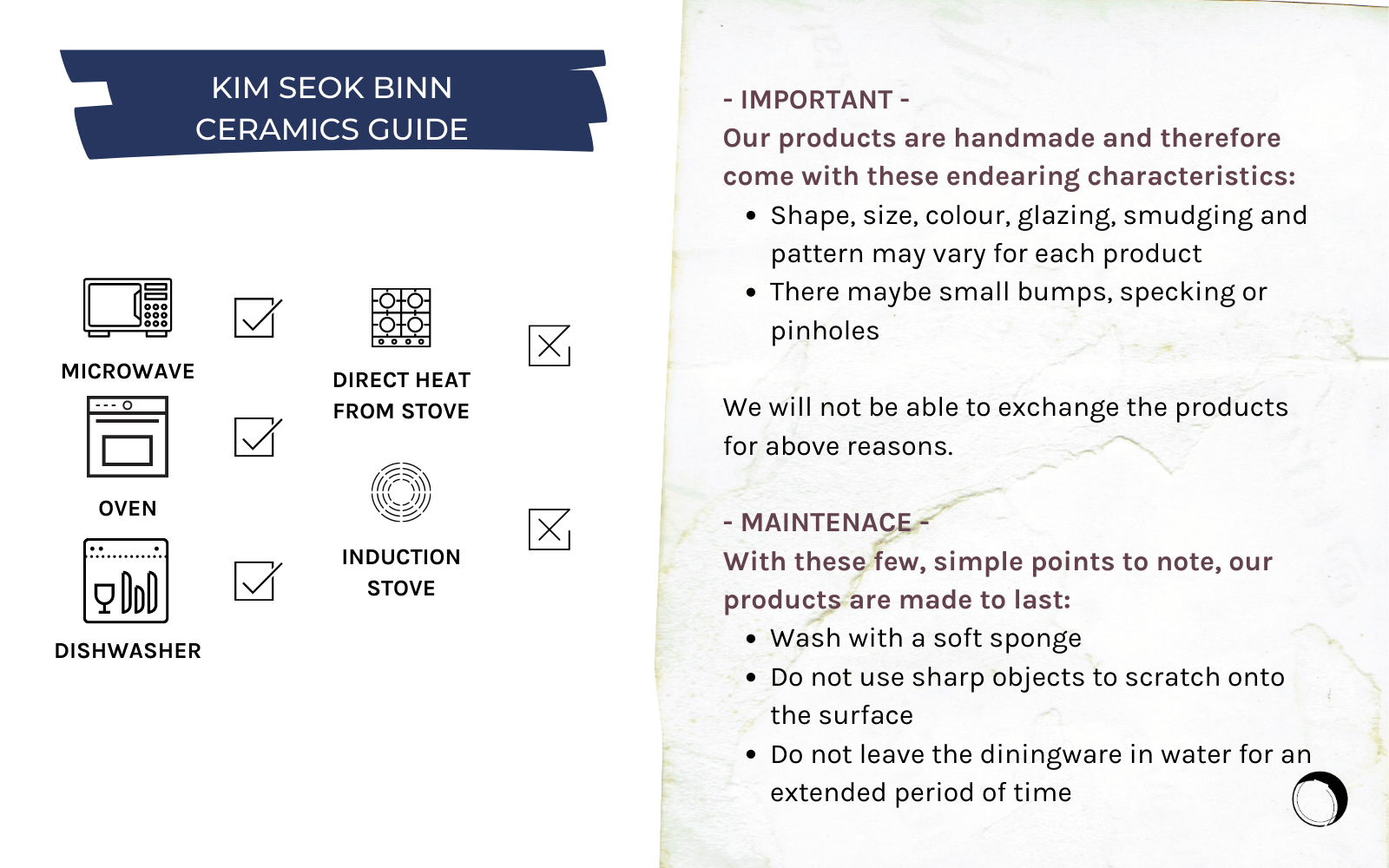 Kim Seok Binn handmade ceramics care guide