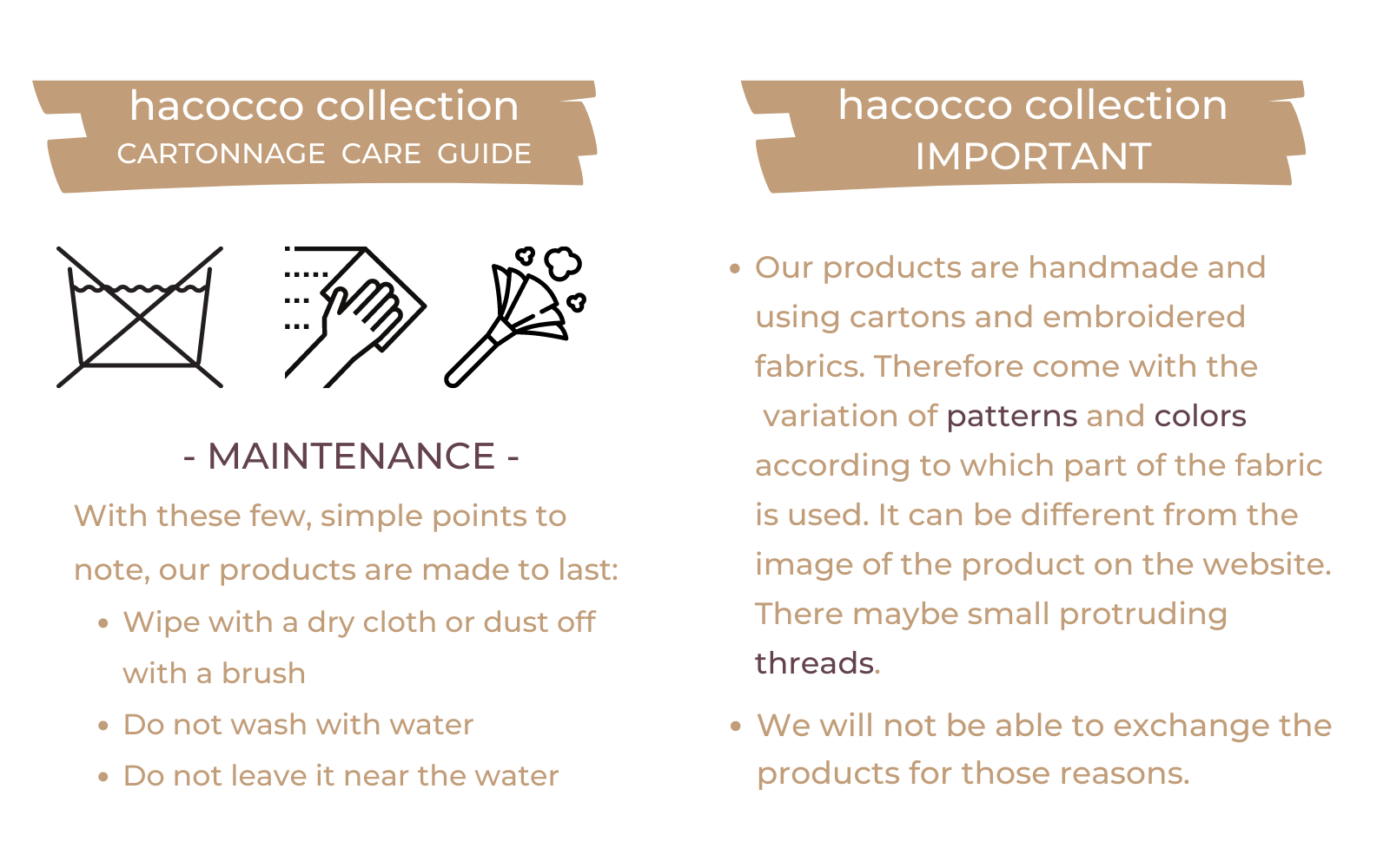 Cartonnage Product Care Guide