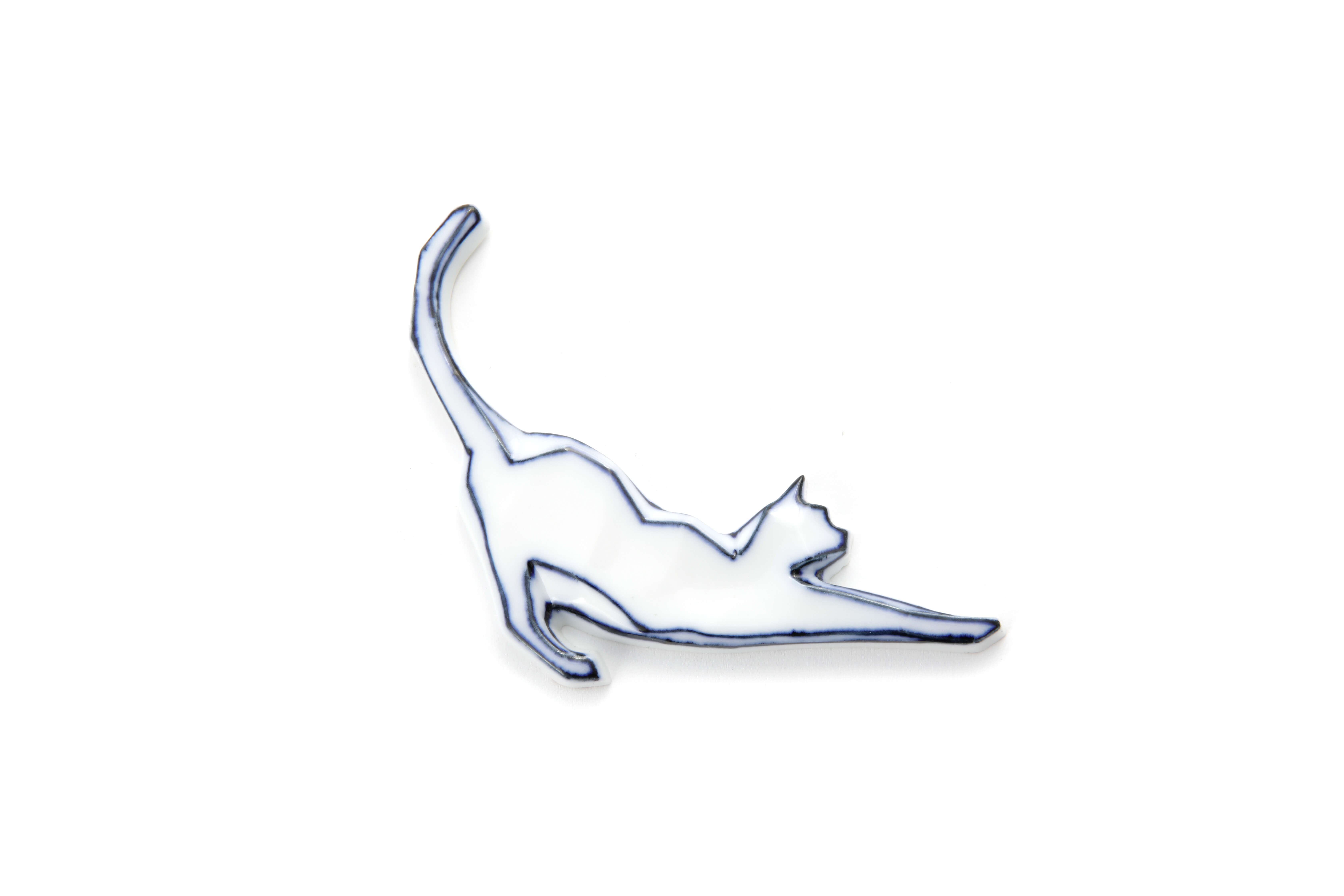 Handmade Cat-shaped Chopstick Holder with Blue Lines - Stretching Cat