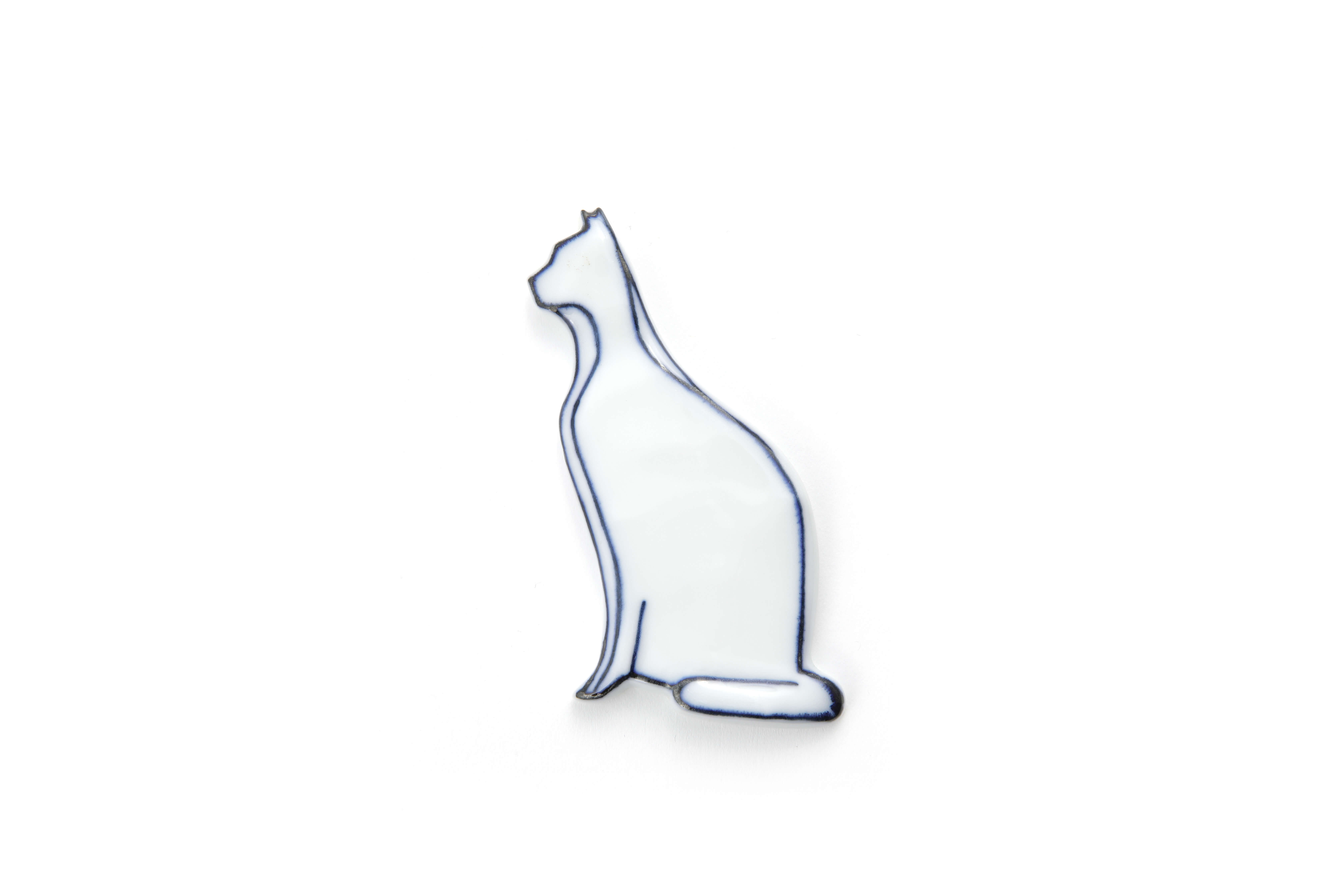 Handmade Cat-shaped Chopstick Holder with Blue Lines - Sitting Cat