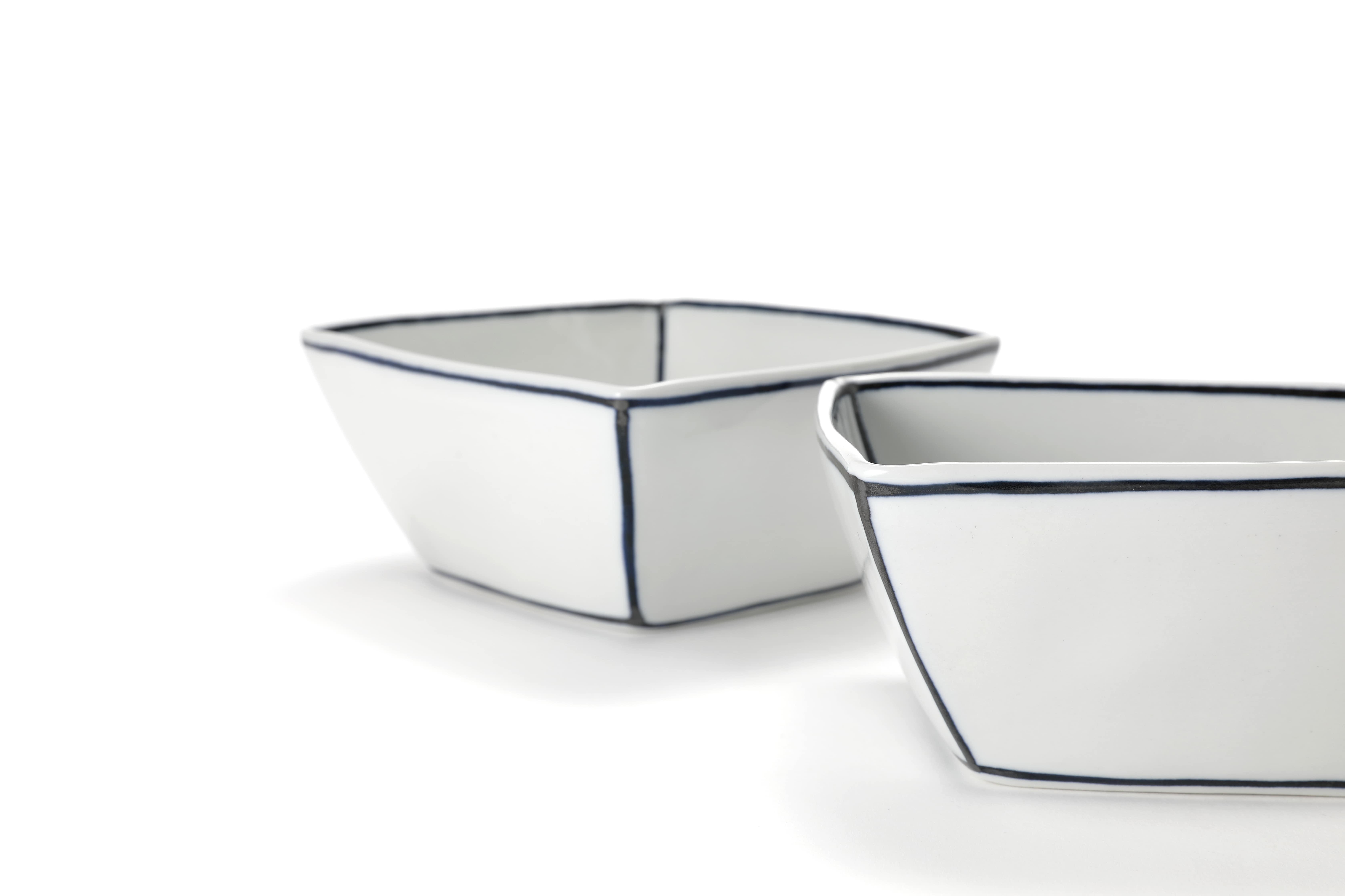 Diningware Handmade Ceramics Square White Bowl with Bluelines