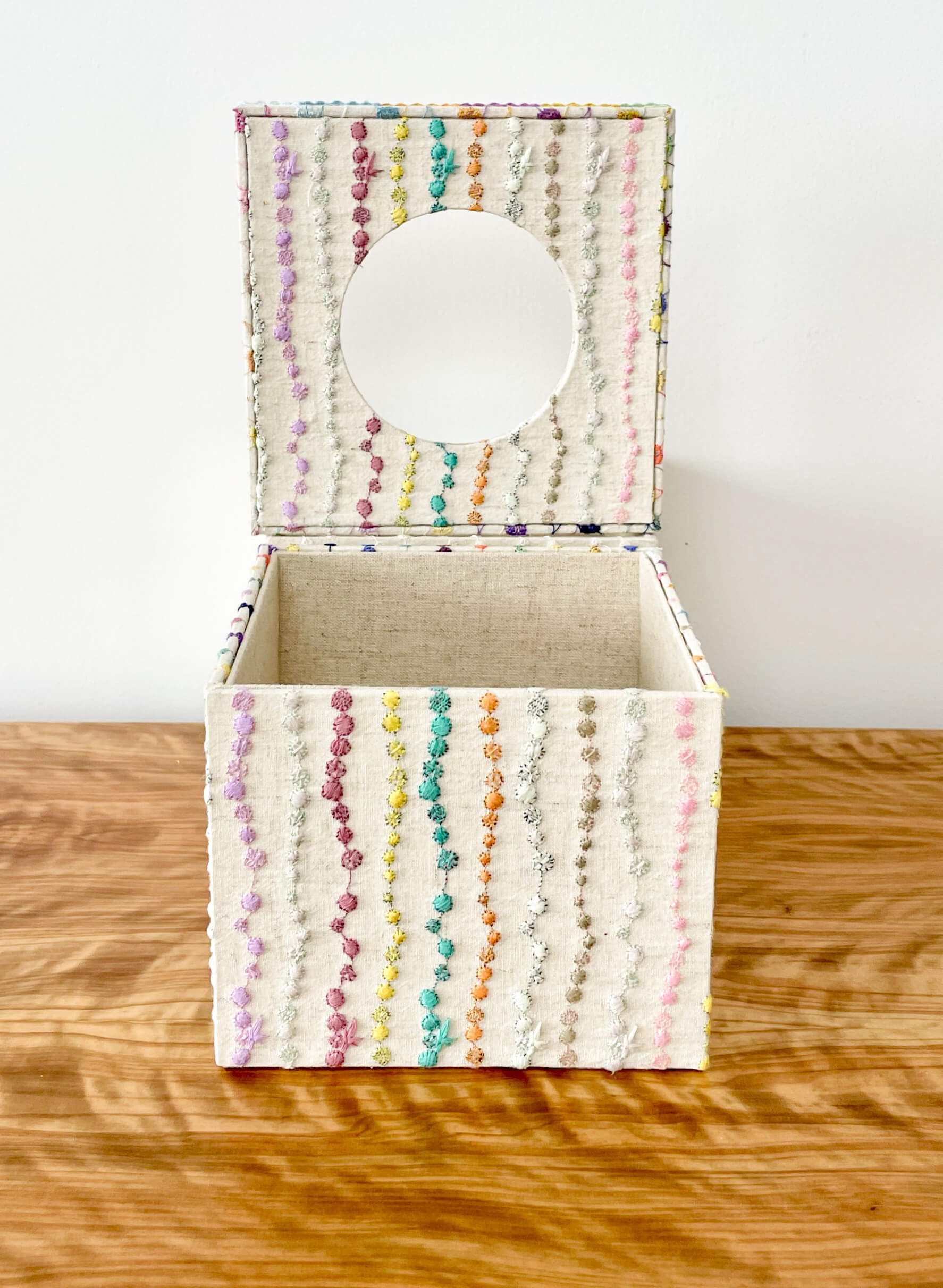 hacocco cartonnage tissue box square rainbow The Moon Jar tissue case embroidered fabric