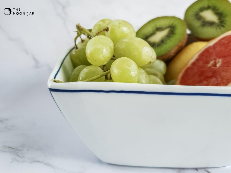 Handmade Salad Bowl with Blue lines