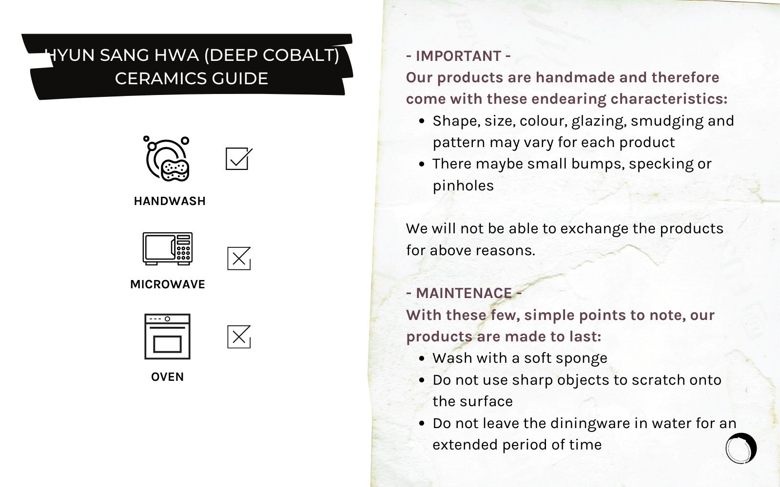 Hyun Sang Hwa Ceramics Product Care Guide